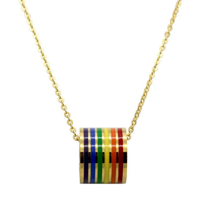 Elegant Rainbow Pendant Choker Necklace