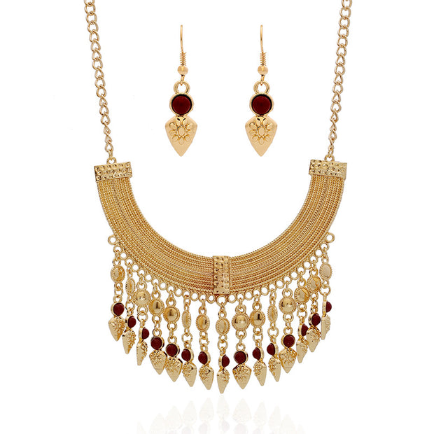 Bohemian Tassel Necklace Set