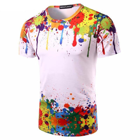 Splashed Paint Rainbow Men's T-shirt
