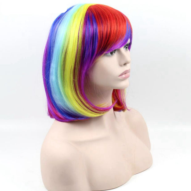 Short Hair Rainbow Wig