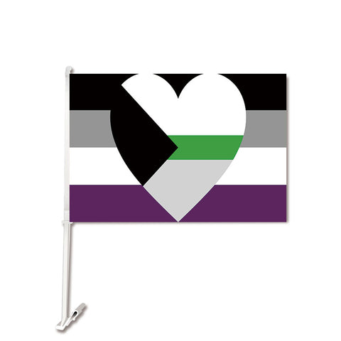 Demiromantic Asexual Car Flag