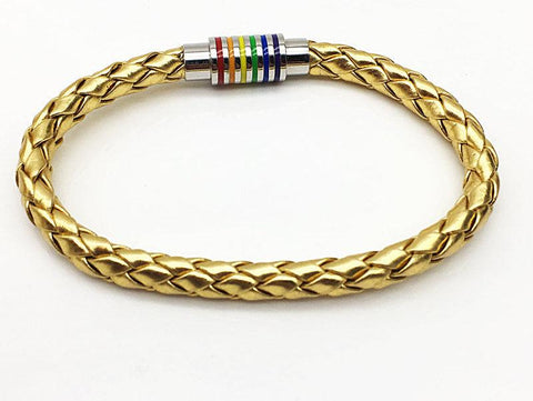 Golden Pride Rainbow Magnet Buckle Leather Bracelet