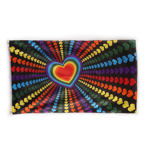 Rainbow Love Heart Pride Flag