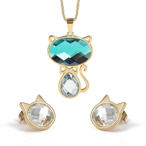 Elegant Blue And White Cat Stone Gold Jewelry Set