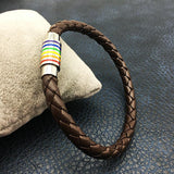 Imitation Leather Rainbow Pride Charm Leather Bracelet (VEGAN OPTION)