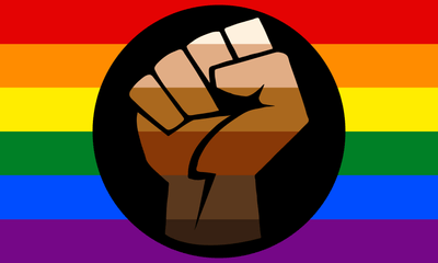 Pride Support Fist Rainbow Flag