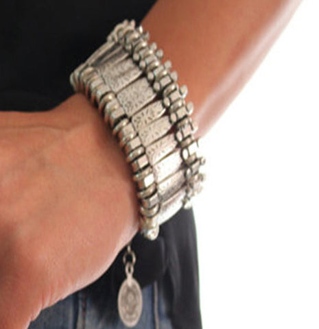 Bohemian Antique Silver Coin Bracelet