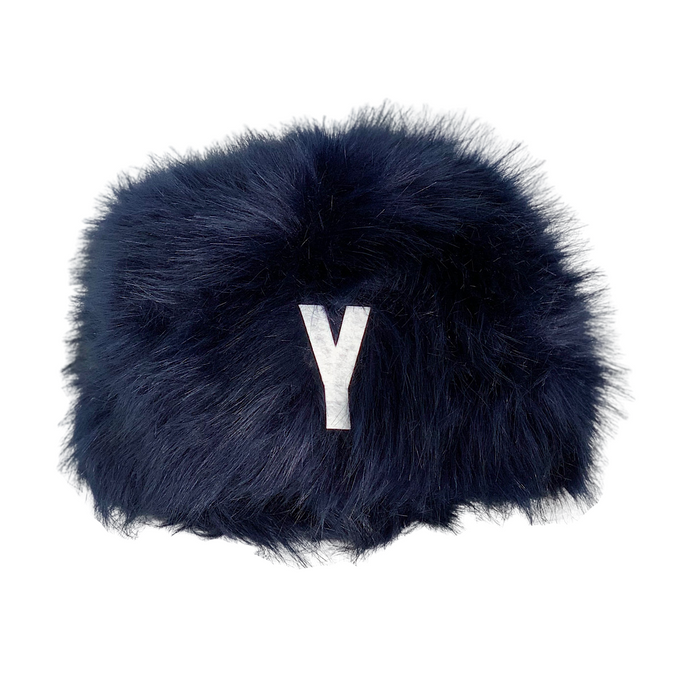 NAVY FAUX FUR HAT YALE