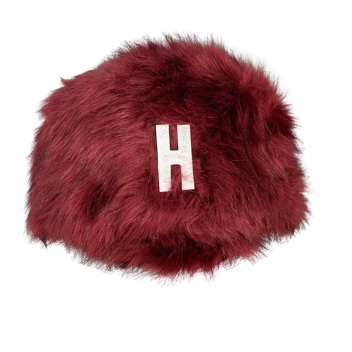 BURGUNDY FAUX FUR HAT HARVARD