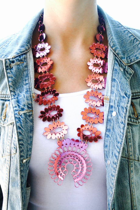 Squash Blossom Necklace - Pink Mirrored