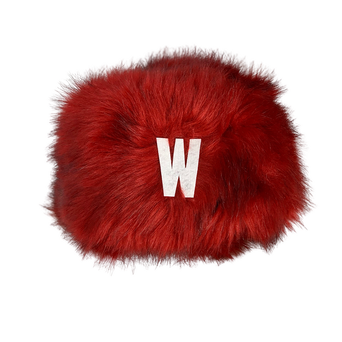RED FAUX FUR HAT WISCONSIN