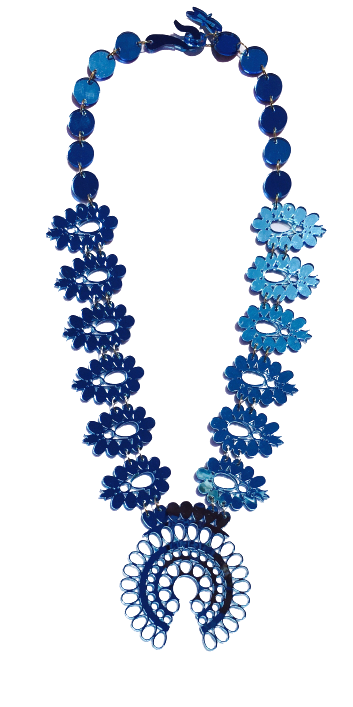 Squash Blossom Necklace - Blue Mirrored