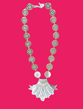Silver Mirrored Venetian Glass Style Plume Necklace - Long