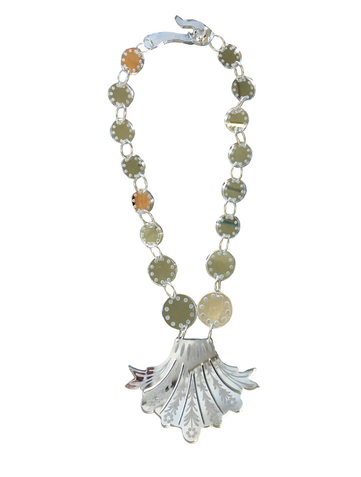 Silver Mirrored Venetian Glass Style Plume Necklace - Short