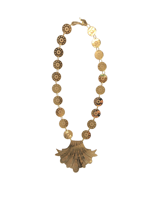 Gold Mirrored Venetian Glass Style Plume Necklace - Long
