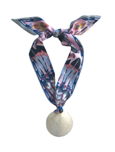 Mother Of Pearl Scarf Necklace -  Lavender Multi Print