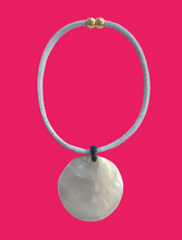 Mother of Pearl Rope Choker Necklace - Silver