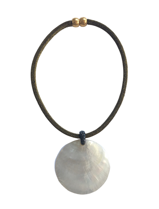 Mother of Pearl Rope Choker Necklace - Gold