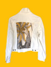 WHITE DENIM JACKET WITH YELLOW MULTI SILK PRINT - Size XL