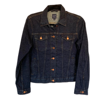 "INDIGO WASHED DENIM JACKET ""RESERVED"" GOLD LEATHER - Size Small"