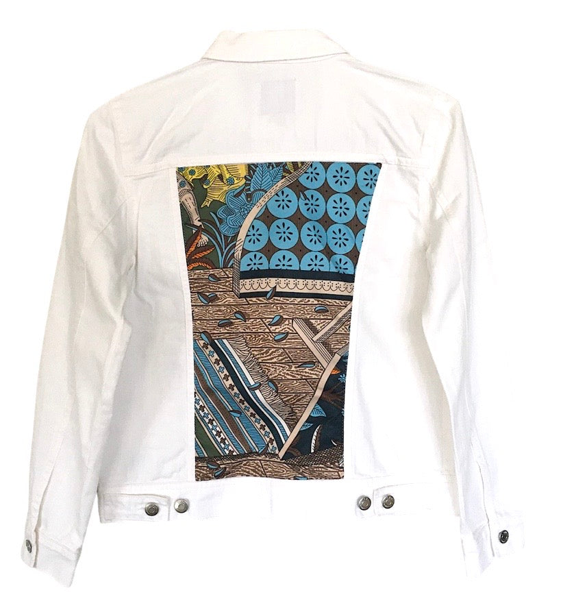 WHITE DENIM JACKET WITH YELLOW/BLUE MULTI SILK PRINT - Size Medium