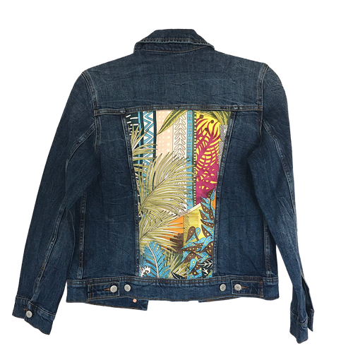 BLUE DENIM JACKET WITH ORANGE MULTI SILK PRINT - Size Small