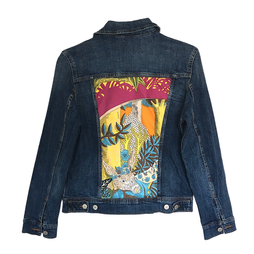 BLUE DENIM JACKET WITH ORANGE MULTI SILK PRINT- Size Medium