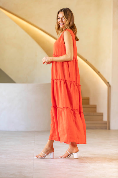 Fiesta Linen Maxi Dress - Red- SALE