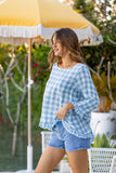 Claudia Gingham Top - Baby Blue