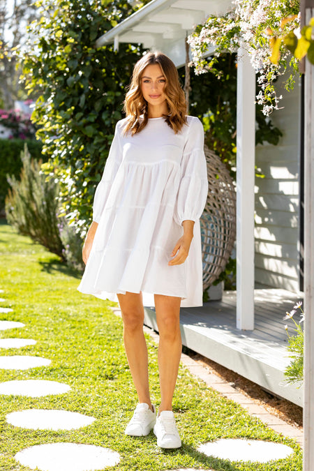 Nicole Linen Lovers Dress - White