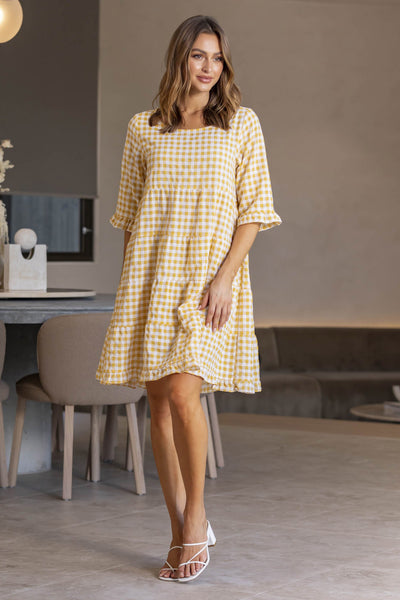 Claudia Gingham Dress - Sand