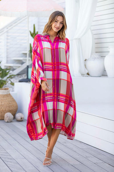 Miracle Shirt Dress - Pink Check