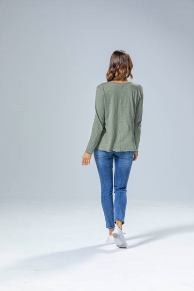 Abigail Long Sleeve Tee - KHAKI