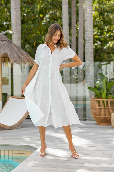 Marley Shirt Dress - Creamy white