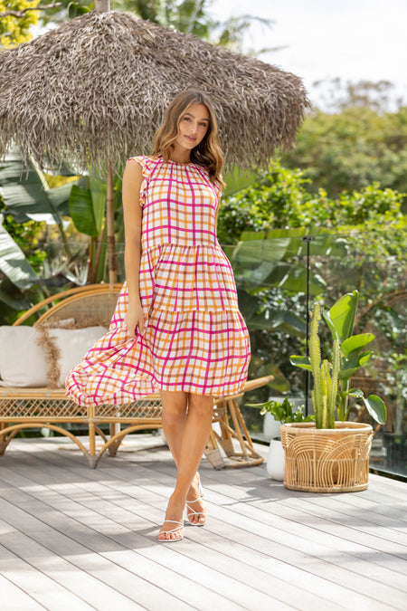 Claudia Gingham Dress - Soft Pink
