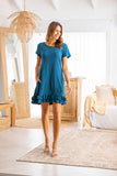 Brittany T-Shirt Dress - Cyan