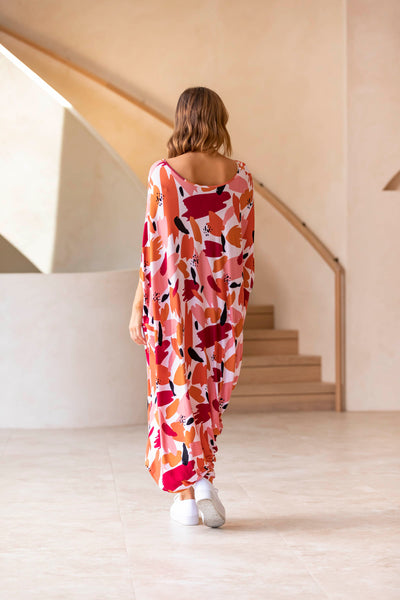 Drape Dress - Peach Splash
