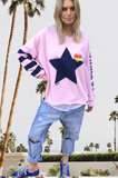 RAW EDGE PINK SWEAT WITH NAVY STAR