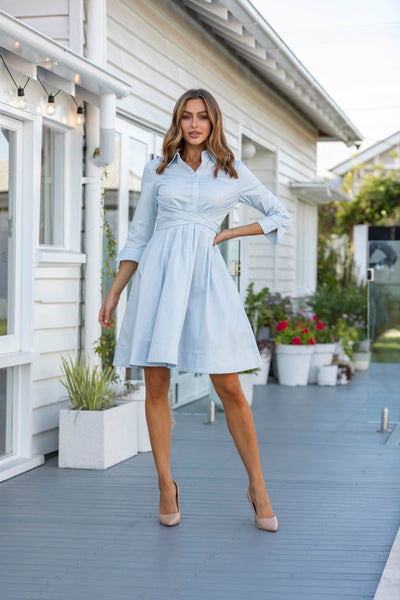 Meghan Shirt Dress - Ice Blue