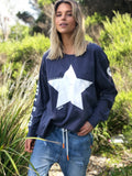 NAVY L/S TEE WITH WHITE STAR