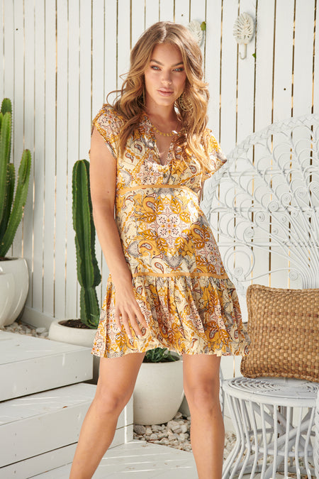 GOLDEN GLOW BEVERLY SHIRT DRESS by JAASE