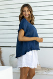 Linen Lovers Ruffle Top - Dark Blue