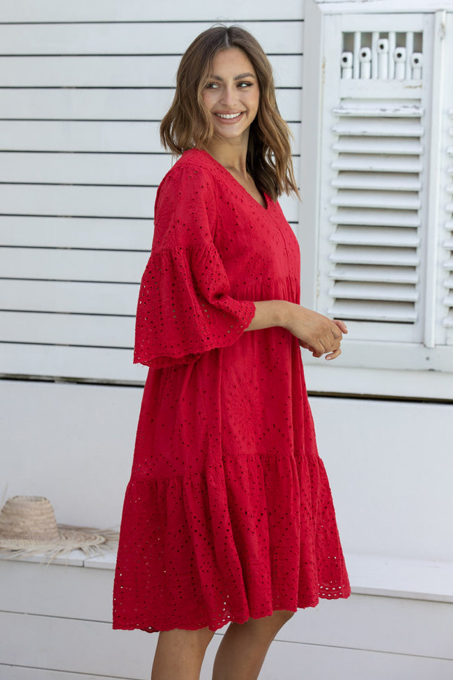 Anglaise Dress - Red