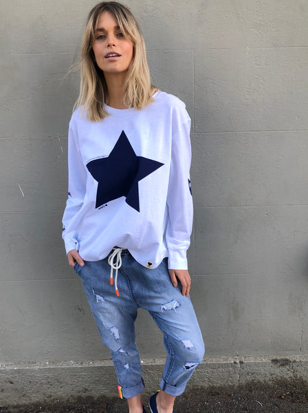 WHITE L/S TEE WITH NAVY STAR