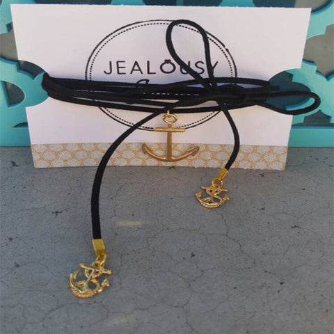 Nautical Shoelace Necklace, Trendy, Long Black Leather