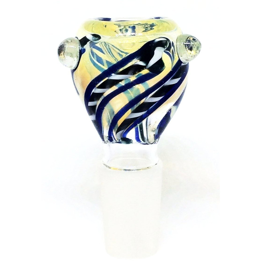 Blue and White Swirl Glass Bowl Piece