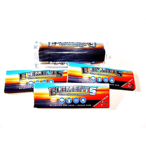 Elements Rolling Machine 79mm with 3 Packs of Elements Rolling Papers 1 1/4 Size