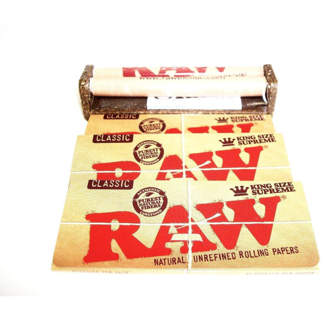 Raw Rolling Machine 110mm with 3 Packs of Raw Classic Rolling Papers King Size