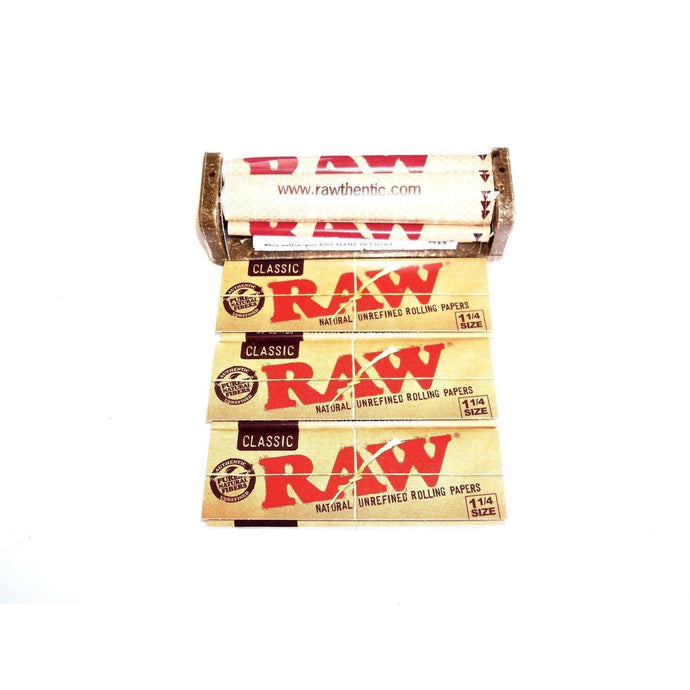 Raw Rolling Machine 79mm with 3 Packs of Raw Classic Rolling Papers 1 1/4 Size