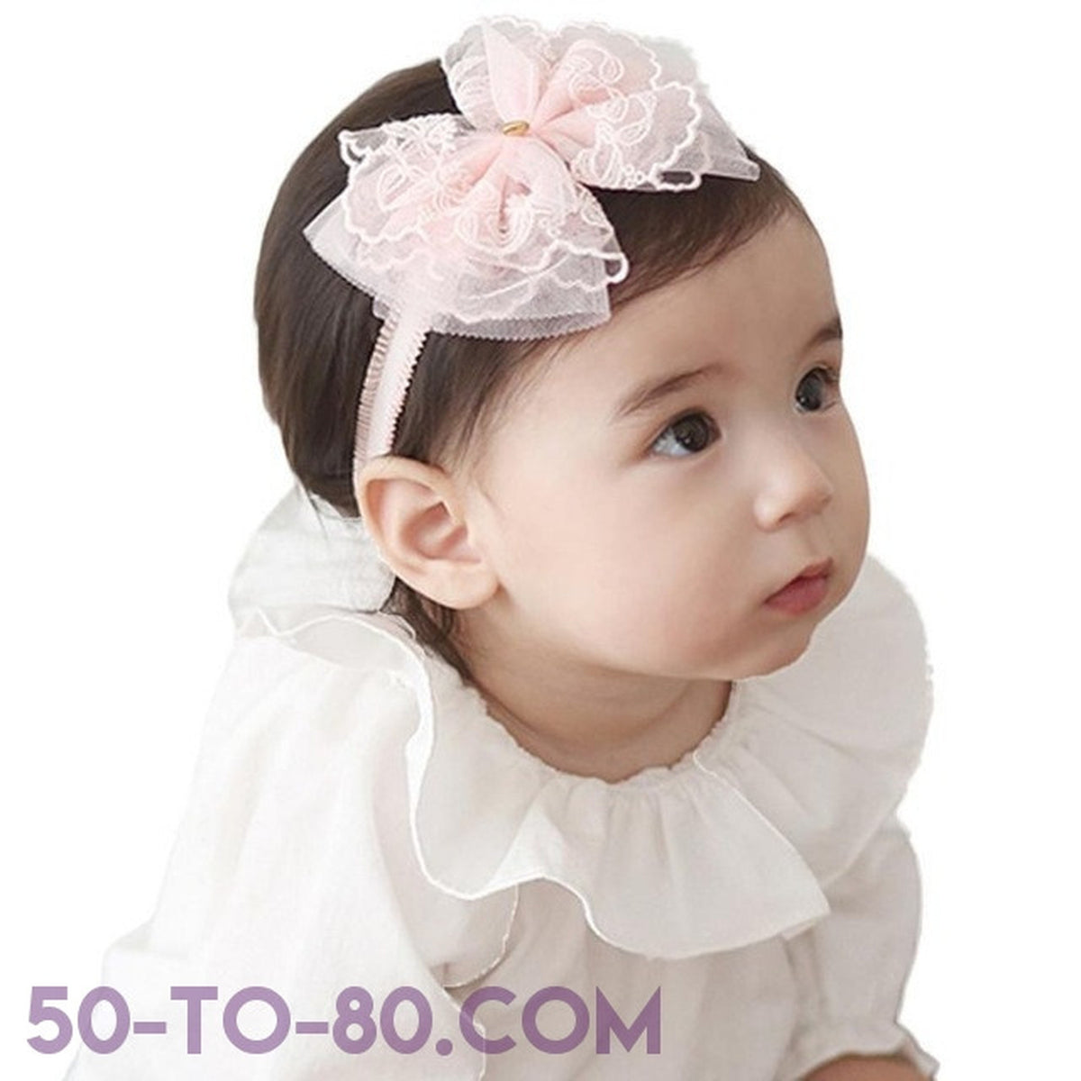 Baby Girl s Fancy Classic Ribbon   Bow Tie Headband - Pink or White Co –  50-TO-80 697b95e828b
